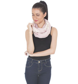 Scarves & Glitters Cotton Floral Embroidered Net Infinity Scarf,  dusty rose
