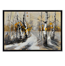 Forest Winter Picture Painting 60 x 90 - @home By Nilkamal, Yellow & Grey