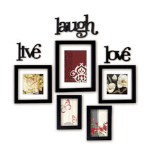 Live Laugh Love Photo Frame 5 Pieces - @home by Nilkamal, Black