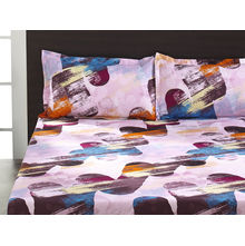 Seasons Geo Double Bed Sheet - @home By Nilkamal, Pink & Brown