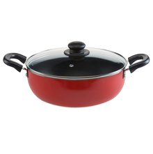 26 cm Classic Induction With Lid Kadai - @home By Nilkamal, Red