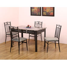 Criss 4 Seater Dining Set - @home by Nilkamal, Marble Brown