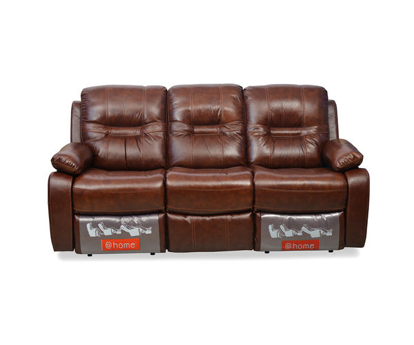 Wilson 3 Seater Sofa With 2 Manual Rocker Recliners - @home By Nilkamal, Caramel