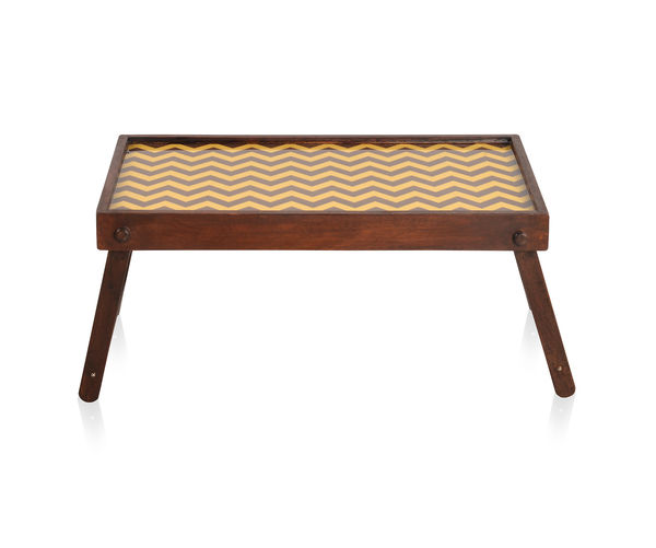 Chevron Bed Tray - @home By Nilkamal, Brown