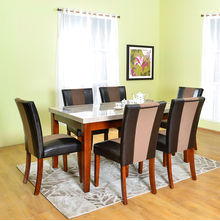 Jenn 6 Seater Dining Kit - @home by Nilkamal, beige with walnut