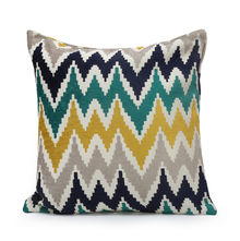Zigzag 40 cm x 40 cm Filled Cusion - @home by Nilkamal, Multicolor