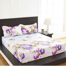Arcade Floral Double Bed Sheet - @home By Nilkamal, Purple