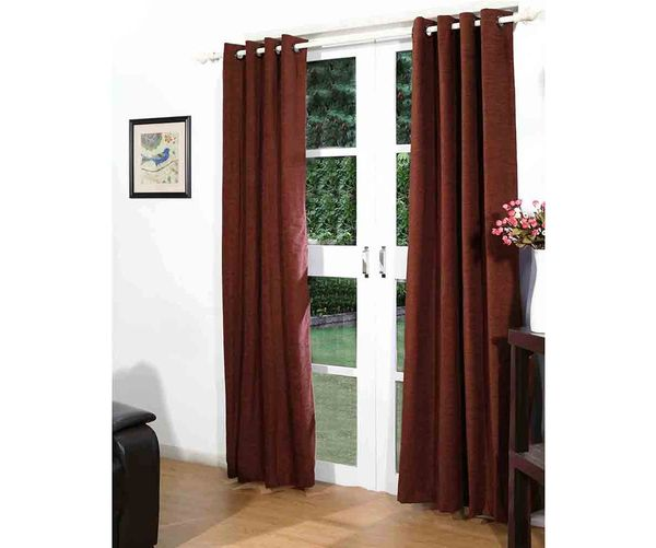 122 x214  Moshi Door Curtain Set of 2 - @home By Nilkamal, Brown
