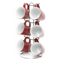 Elite Stoneware Tea Set of 6 with Stand - @home by Nilkamal, Maroon