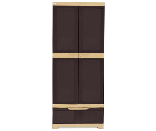 Nilkamal Freedom Cabinet with 1 Drawer Below - Weather Brown & Biscuit