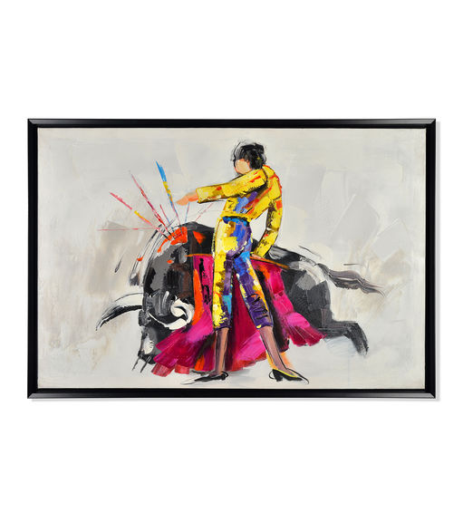 Matador Spring Picture Painting 60 x 90 - @home By Nilkamal, Brown & Fuschia