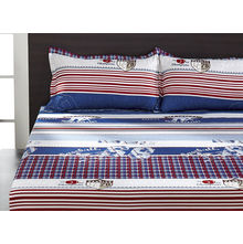 Seasons Geo Double Bed Sheet - @home By Nilkamal, Brown & Blue