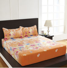 Arcade Floral Double Bed Sheet - @home By Nilkamal, Peach