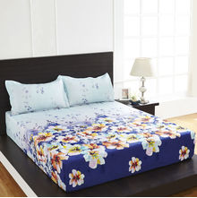 Arcade Floral Double Bed Sheet - @home By Nilkamal, Blue
