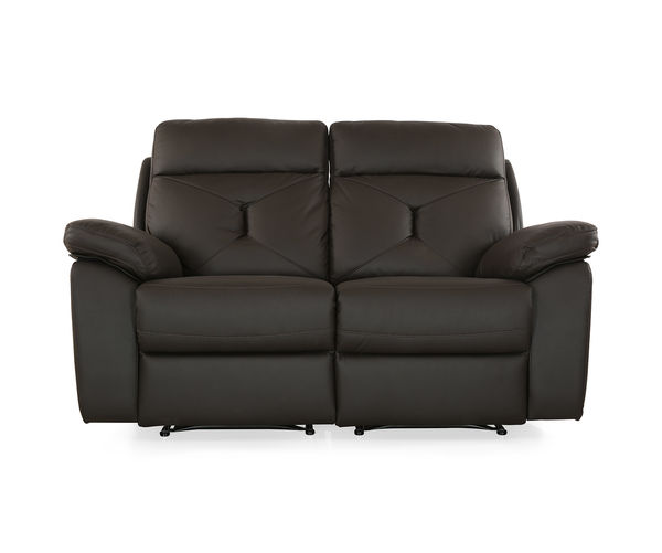 Ace 2 Seater Sofa with 2 Manual Recliners - @home By Nilkamal, Dark Brown