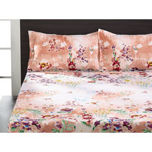 Seasons Floral Double Bed Sheet - @home By Nilkamal, Peach