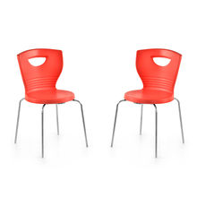 Nilkamal Novella 15 without Arm & Cushion Chair Set of 2, Red