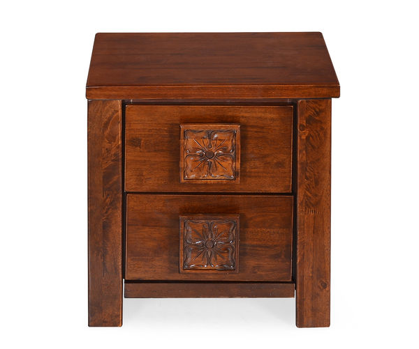 Monalisa Night Stand with 2 Drawers - @home By Nilkamal, Caramel Walnut