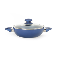 Bergner Diamanti Diamond Plus 24 cm Kadai with Lid, Blue