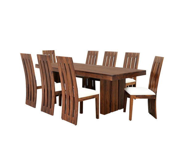 Delmonte 8 seater dining kit - @home Nilkamal,  walnut