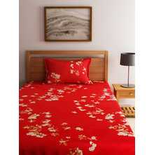 Floral 150 cm x 225 cm Single Bedsheet - @home by Nilkamal, Maroon