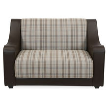 Plaid 2 Seater Sofa - @home by Nilkamal, Cafe Brown
