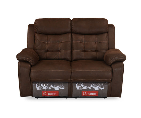 Augusta 2 Seater Sofa with 2 Manual Recliners - @home By Nilkamal, Chocolate