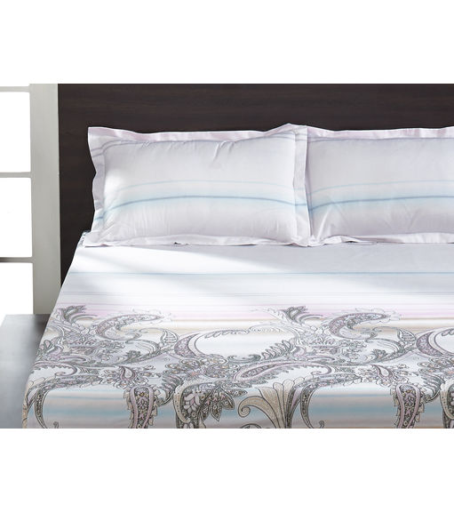 Seasons Floral Double Bed Sheet - @home By Nilkamal, White