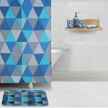 Bath Accessories Combo Set - @home by Nilkamal, Geometric Indigo and White