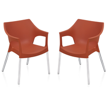 Nilkamal Novella 10 with Arm & without Cushion Chair Set of 2, Rust