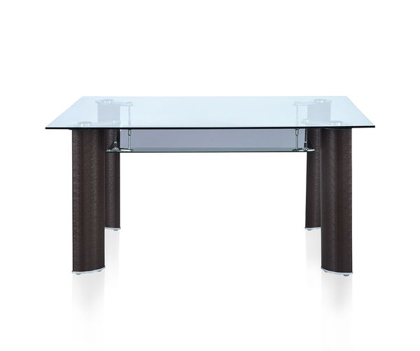 Bambino 6 Seater Dining Table With Glass - @home By Nilkamal,  brown