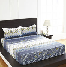 Arcade Damask Double Bed Sheet - @home By Nilkamal, Blue