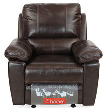 Marshall 1 Seater Sofa with Manual Rocker Reclinear - @home By Nilkamal, Russet Brown