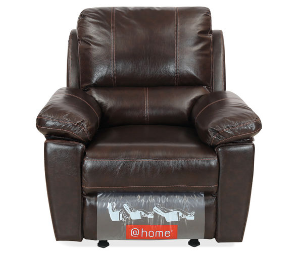 Marshall 1 Seater Sofa with Manual Reclinear - @home By Nilkamal, Russet Brown