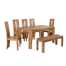 Granada 1+ 5+ Bench Dining Set - @home by Nilkamal, Natural Walnut