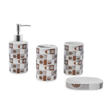 Geo Bath Accessory Set - @home by Nilkamal, Brown