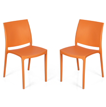 Nilkamal Novella 08 without Arm & Cushion Chair Set of 2, Orange