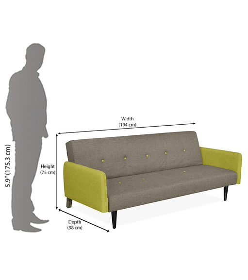 Jane 3 Seater Sofa Cum Bed - @home by Nilkamal,  olive