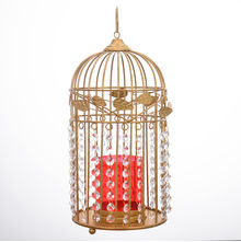 Crystal Drops Metal Cage Candle Stand - @home by Nilkamal, Gold