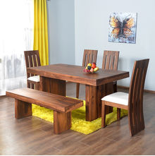 Delmonte 1+ 4+ Bench Dining Kit - @home Nilkamal,  walnut