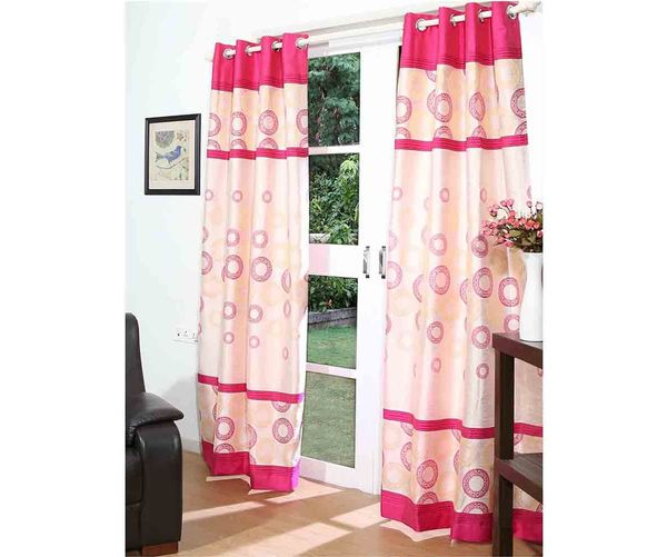 112 x213  Marvel Door Curtain Set of 2 - @home By Nilkamal, Fuschia
