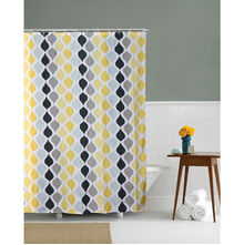 Ogee Print 180 cm x 200 cm Shower Curtain - @home by Nilkamal, Yellow