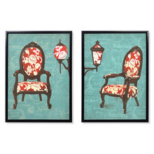 Chair Autumn Picture Painting Set Of 2 50 x 70 - @home By Nilkamal, Blue & Peach