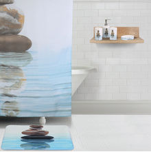 Bath Accessories Combo Set - @home by Nilkamal, Pebbles Sea Green & Grey