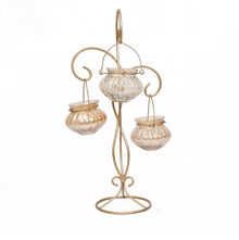 Hanging Lantern Holder 3 Candle Stand - @home by Nilkamal, Gold