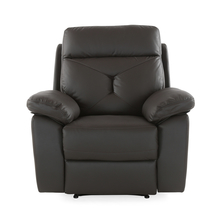 Ace 1 Seater Sofa with 1 Manual Recliner - @home By Nilkamal, Dark Brown