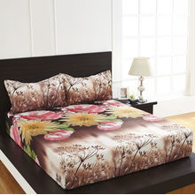 Arcade Floral Double Bed Sheet - @home By Nilkamal, Dark Brown