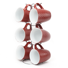 Elite Stone Coffee Mug Set of 6 with Stand - @home by Nilkamal, Maroon
