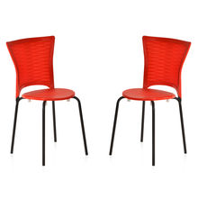 Nilkamal Novella 14 without Arm & Cushion Chair Set of 2, Red