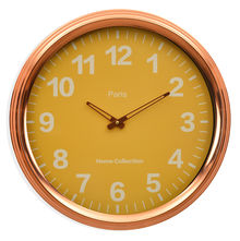 Aristro Wall Clock - @home By Nilkamal, Yellow